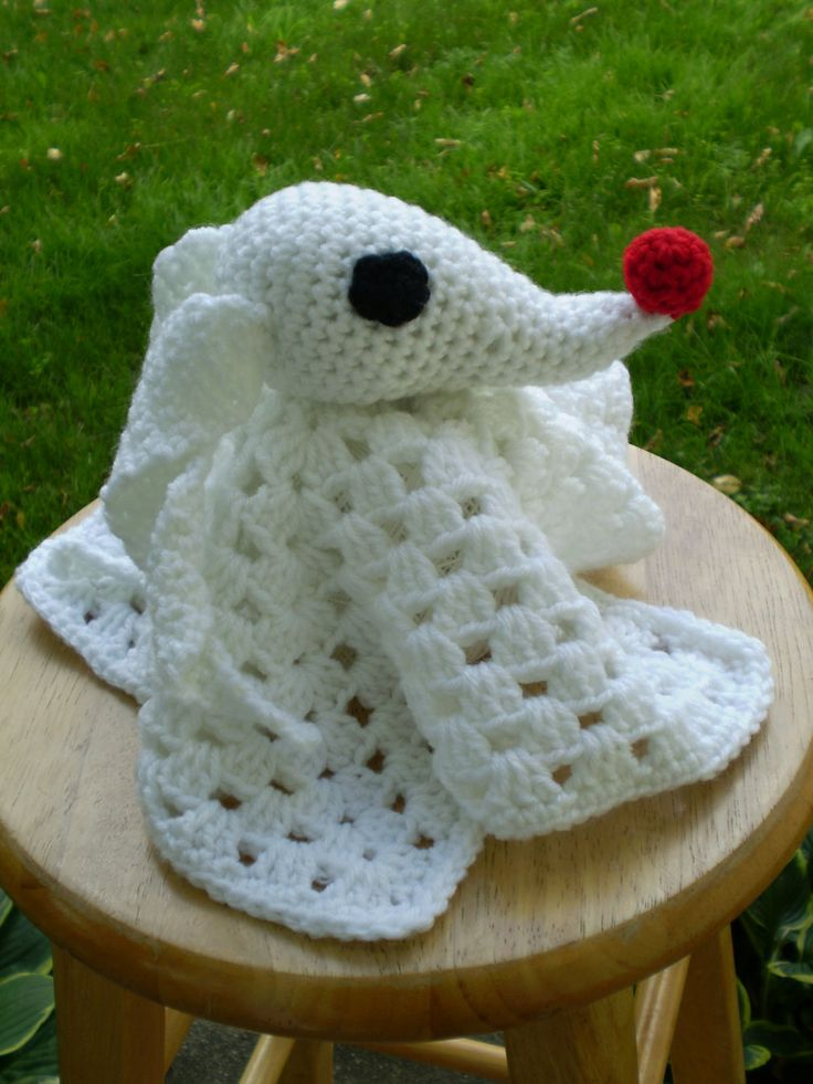 Crochet Patterns Nightmare Before Christmas : Crocheted Zero Lovey Nightmare Before by TheStringSection on Etsy, $25 ...