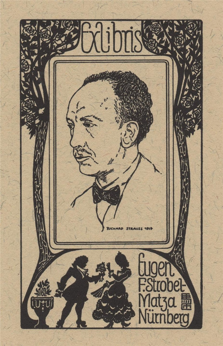 Portrait of Richard Strauss, Ex Libris made by the German artist Evgen F. Strobel-Matza.