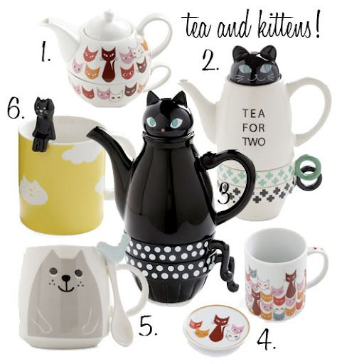 Cat themed tea sets from ModCloth