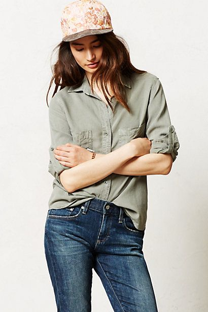 Anthro Green Chambray
