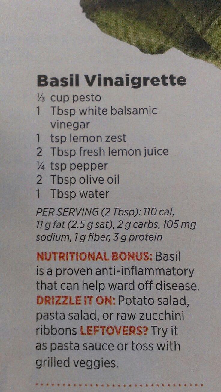 Basil vinaigrette | Recipes | Pinterest
