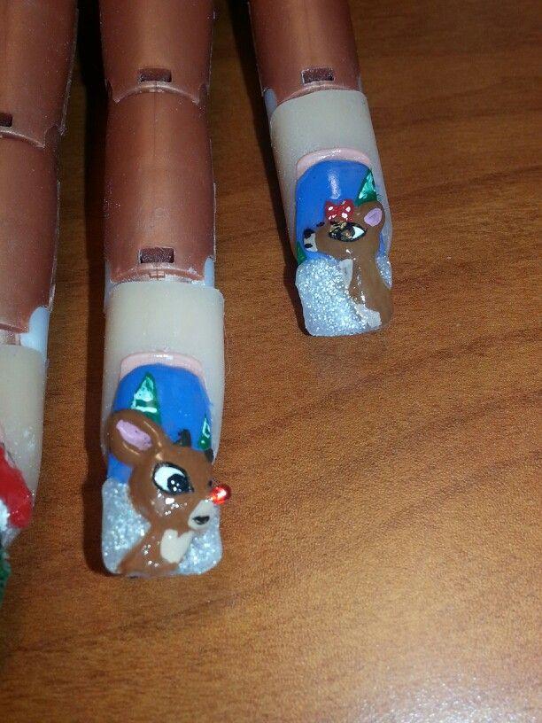 3D nail art Rudolph th...