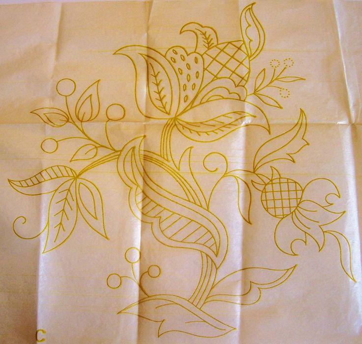 Vintage embroidery transfer jacobean design
