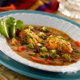 Cilantro Lime Corn Meal Dumplings in Chorizo Chicken Soup | Recipe