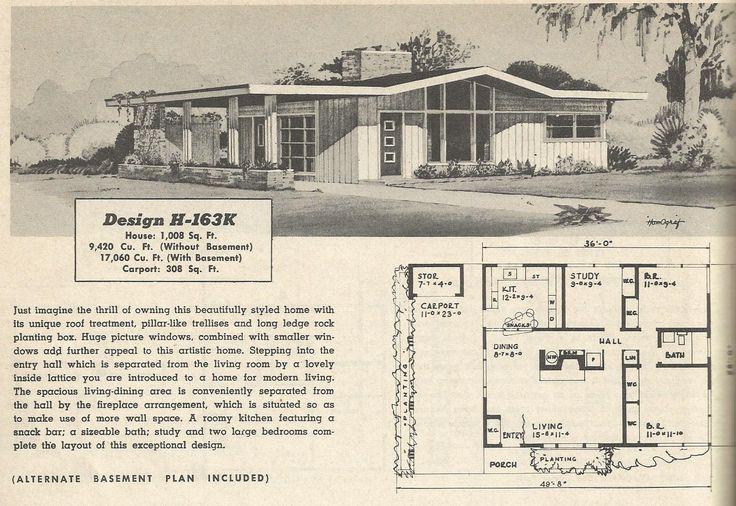 Design h 163k mid century modern house plans pinterest for 1950 s house plans