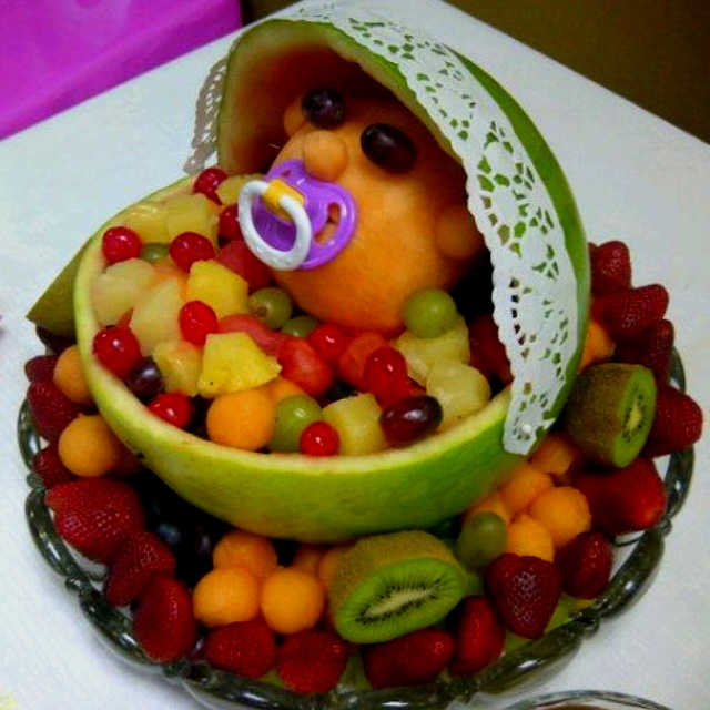 cute fruit bowl for a baby shower you could probably customize this