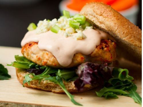 Buffalo Turkey Burgers with Ranch Sauce & Blue Cheese [RECIPE]