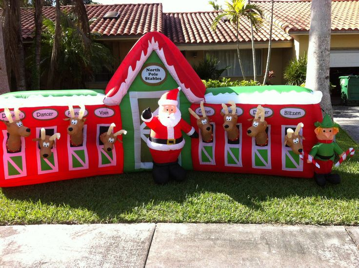 Christmas inflatables 13 ft reindeer stable,!! brand new