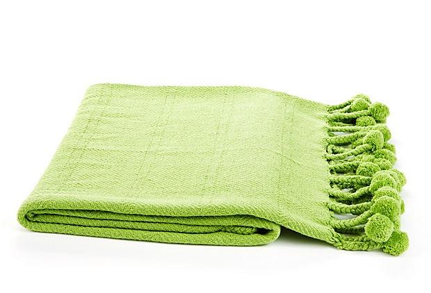 pom pom cotton throw lime green. Black Bedroom Furniture Sets. Home Design Ideas