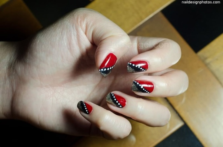 red black and white nail art  Amazing Nail Designs  Pinterest