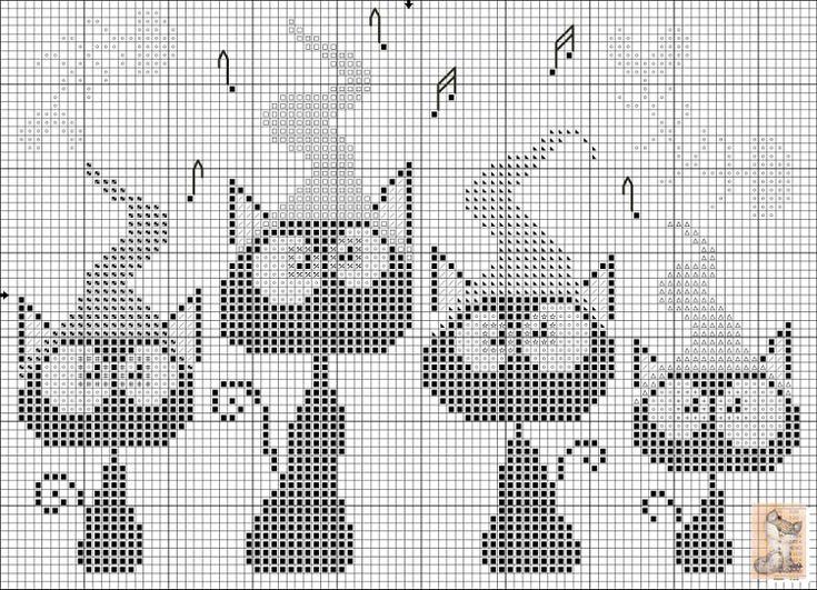 Черно-белые схемы для вышивки крестиком большие 46