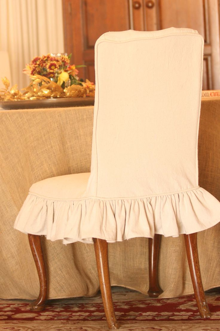 Slipcover dining chair ruffle skirt dining room ideas Dining chair slipcovers
