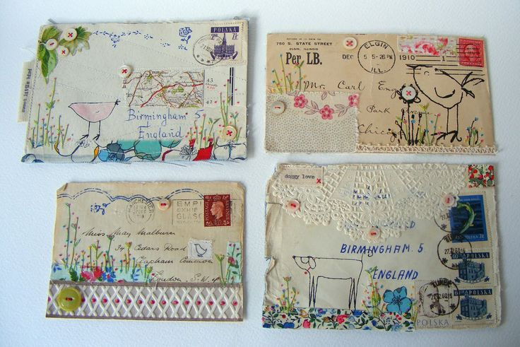 HENS TEETH'S GLORIOUS COLLAGE ENVELOPES - DONT KNOW IF ITS THE LAYERS OR THE STITCHING THAT MAKES IT SO SUBLIME.