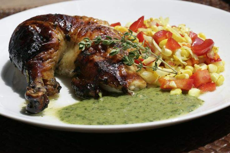Herb Roasted Free-range Chicken with Corn Relish and Chimichurri Sauce