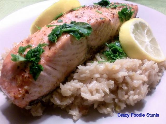 Mustard-Brown Sugar Glazed Salmon with Lemon Rice Pilaf