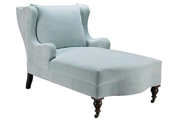 Montclaire velvet chaise light blue for Blue velvet chaise