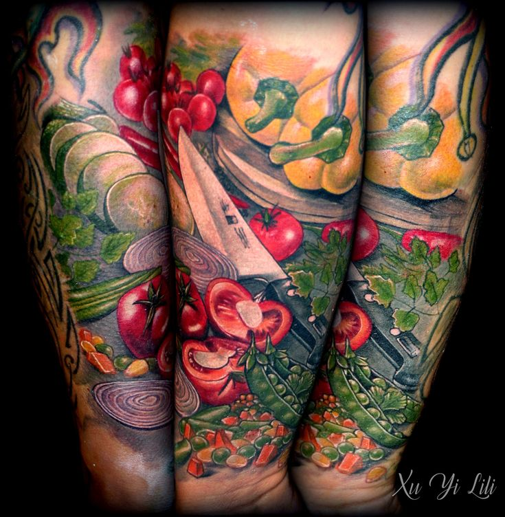 Culinary tattoo sleeve