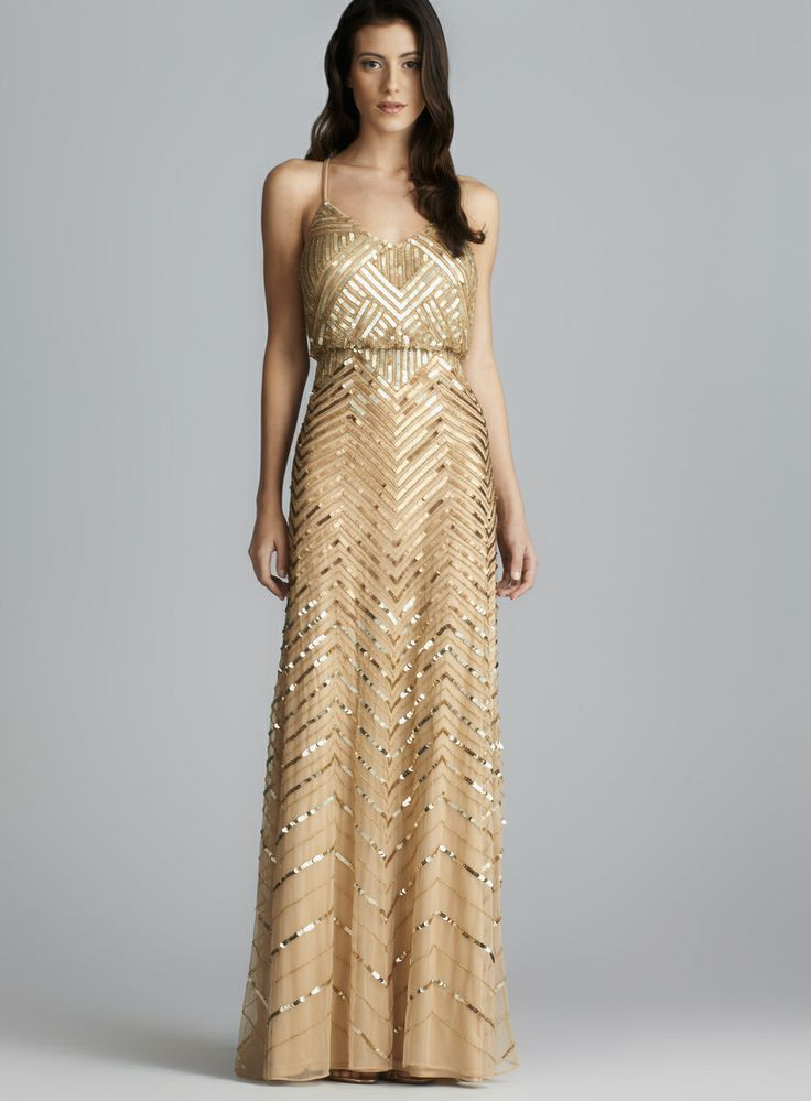 Gatsby Dress Cross Back Long Sequined Blouson Dress Prom...bridesmaid ...