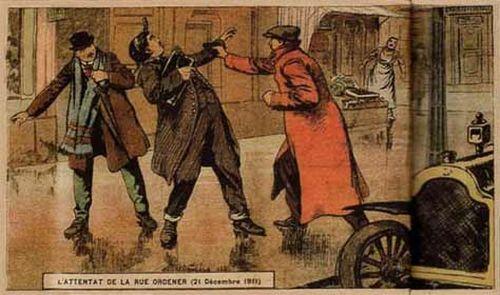 Attaque du garçon de recettes de la Société Générale, le 21 décembre 1911, par la Bande à Bonnot. Premier hold-up en voiture de l'Histoire.
