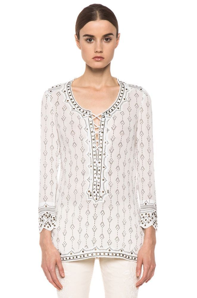 Isabel Marant Alicia Lace Up Front Blouse 77