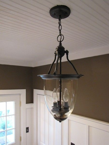 pottery barn style pendant light made from thrift light. Black Bedroom Furniture Sets. Home Design Ideas