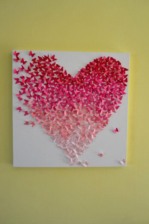Pink ombre butterfly heart 3d butterfly wall art for Pink wall art