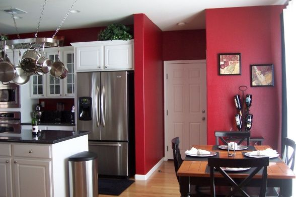 Red Walls And White Cabinets Sit Eat Pinterest