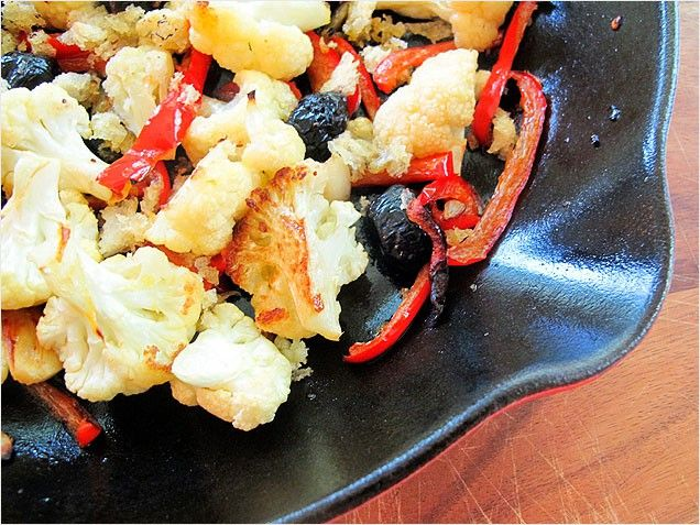 Roasted Cauliflower and Red Peppers (sans breadcrumbs)