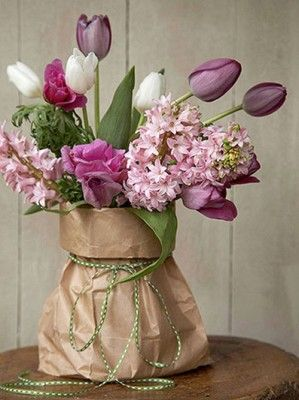 Garden FLOWERS - nice use of brown paper bag