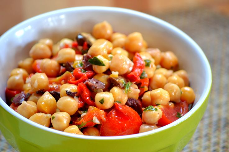 Mediterranean Chick Pea Salad with Black Olives, Roasted Red Peppers ...