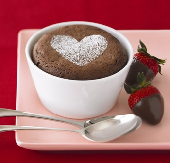 Individual Chocolate Souffles by Ghirardelli. Just in time!