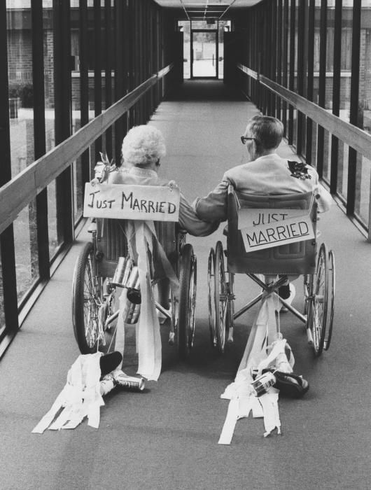 "Forget the rolling cans trailing a car and ""Just Married"" on the windows, this old couple knows how to represent their marriage."