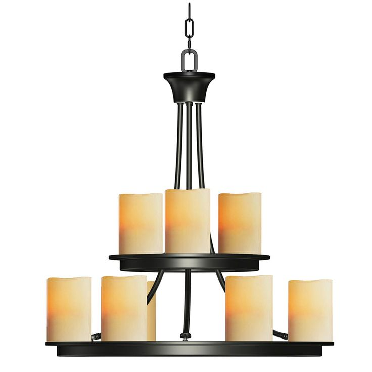 Shop allen + roth Harpwell 9-Light Oil Rubbed Bronze Chandelier at ...
