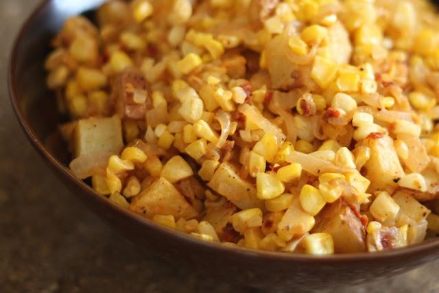 Chipotle Corn & Caramelized Onion Potato Salad {recipe by Bare Feet in ...