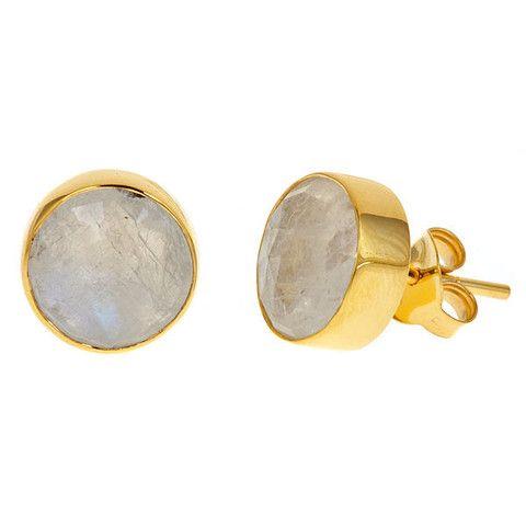 Mini Moonstone Studs by Margaret Elizabeth | Margaret Elizabeth
