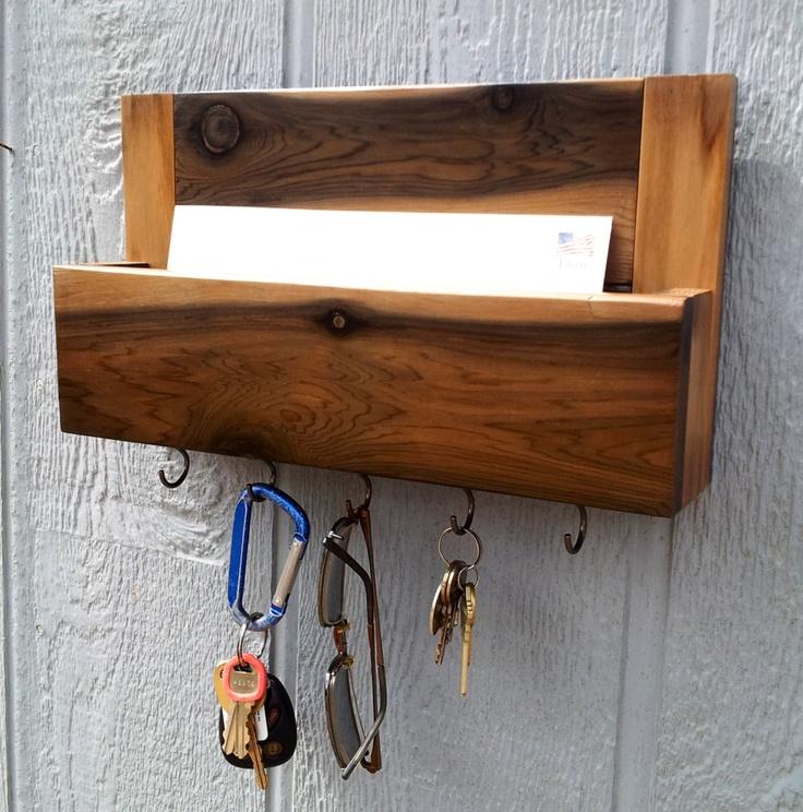 Cedar mail and key holder key rack dog leash holder - Letter rack and key holder ...
