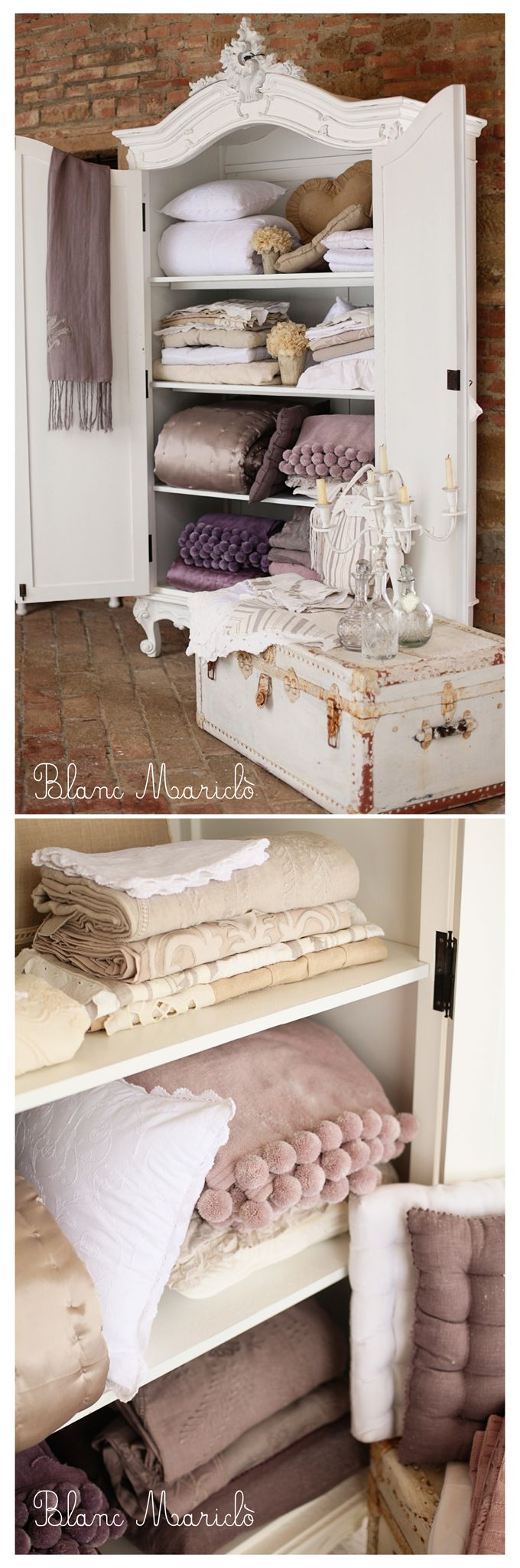 Pin by blanc maricl on shabby chic interiors pinterest for Linge de maison shabby chic