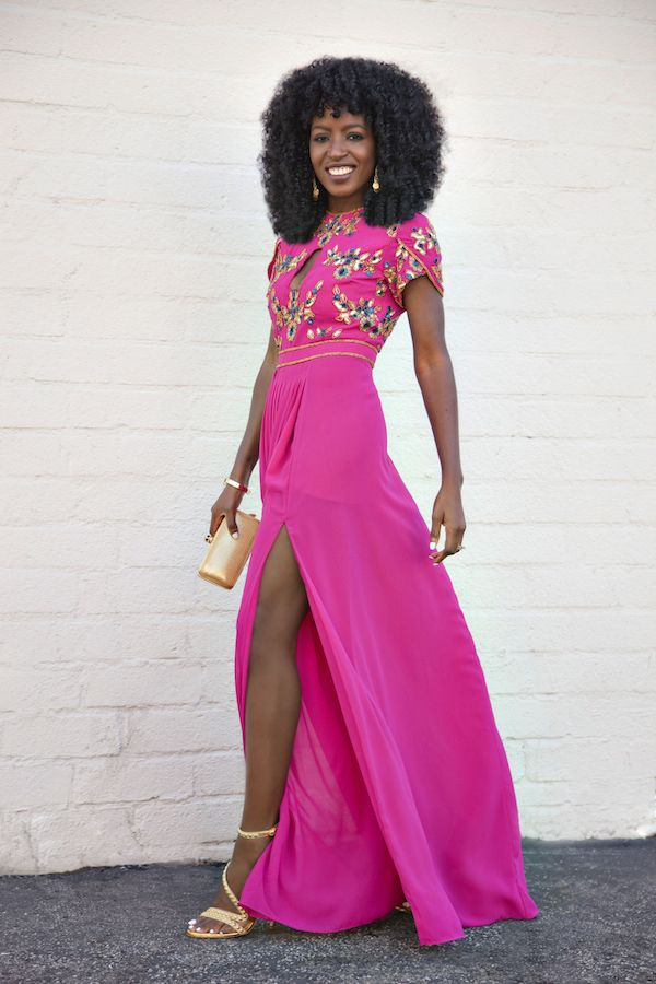 Embellished Key Hole Front Maxi Dress