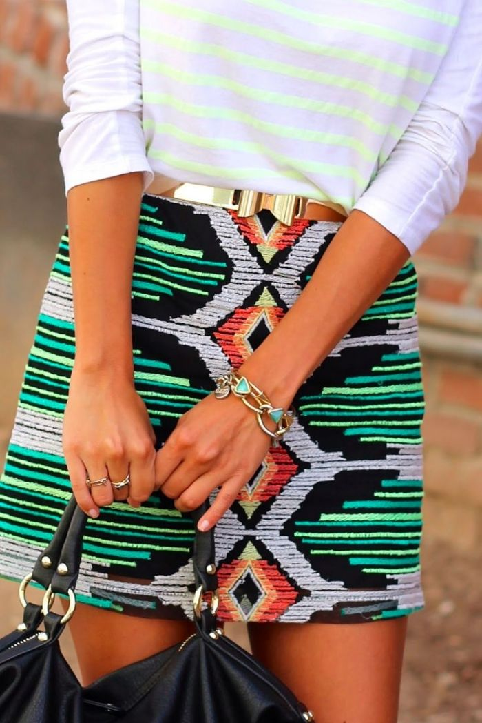 Chic colorful printed skirt