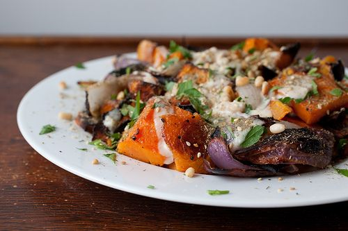 roasted butternut squash and red onion with tahini and za'atar ...