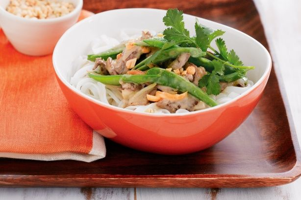Peanut And Ginger Lamb With Snow Peas And Rice Noodles Recipe #Recipe ...