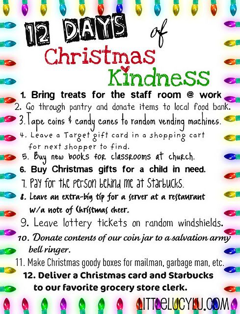 The 12 Days of Christmas Kindness ... hoping your family will join in and celebrate the true spirit of the season! ...Little Lucy Lu