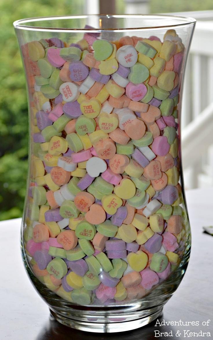 Conversation hearts vase centerpiece #craft #valentines #hearts #diy   Adventures of Brad & Kendra: Valentine's Day Conversation Hearts Vase