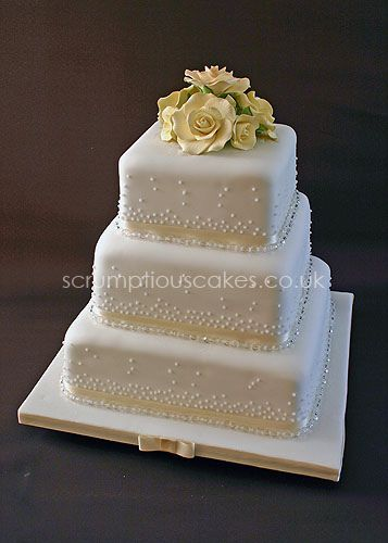 Wedding Cake (499) - Sugar Flowers & Champagne Bubbles