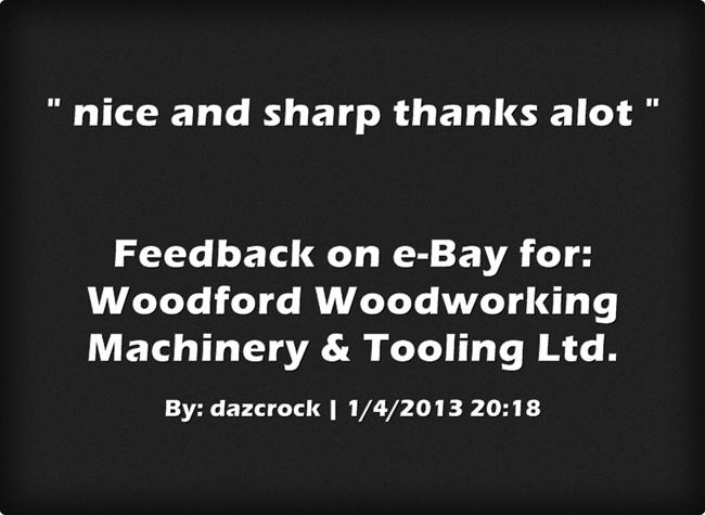 nice and sharp thanks alot. ~dazcrock | Feedback for woodfordtooling ...