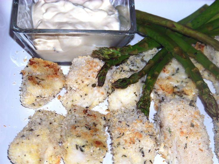 Crunchy Baked Cod with Asparagus and Dijon Lemon Cream #recipes #cod
