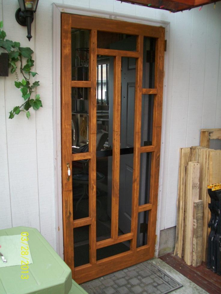 Built a screen door for garage back door pallet for Back door with window and screen