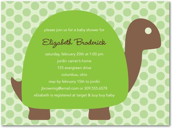 turtle design polka dot background baby shower invitations in green