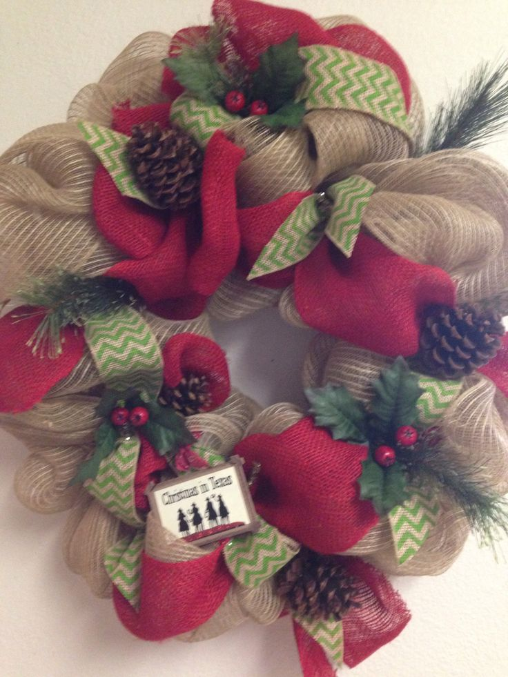 Burlap christmas wreath burlap christmas pinterest Burlap xmas wreath
