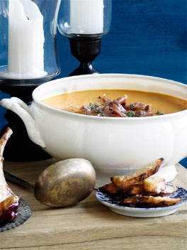 Roast pumpkin soup with pancetta and parmesan